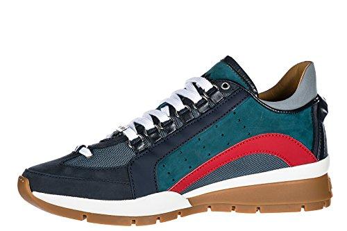 Dsquared2 Herenschoenen Heren Lederen Schoenen Sneakers 551 Blu