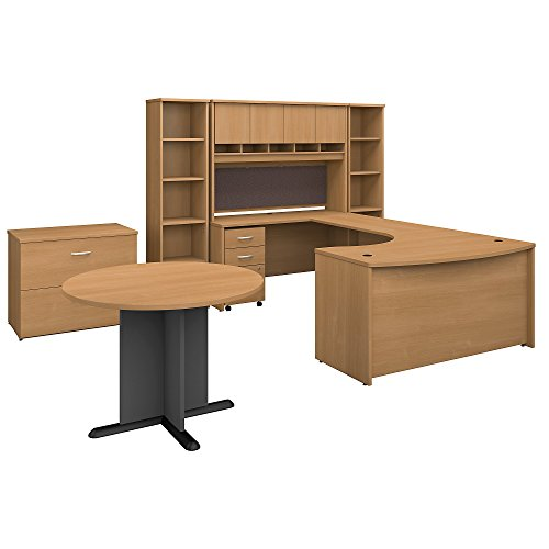 (Bush Business Furniture Series C 60W Left Handed Bow Front U Shaped Desk with Storage and Conference Table in Light Oak)