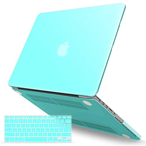 iBenzer MacBook Pro 15 Inch Case 2012-2015, Soft Touch Hard Case Shell Cover with Keyboard Cover for Apple MacBook Pro 15 with Retina Display A1398,Turquoise,MMP15R-TBL+1