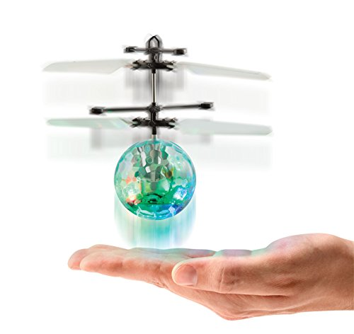 Motion Sensor UFO Helicopter Mini LED Disco Orb Interactive Toy Uses Your Hands Or Any Flat Surface as Remote Control to Magically Elevate Keep Copter Flying Like a Gyro RC Drone by Perfect Life Ideas (Float Ufo)