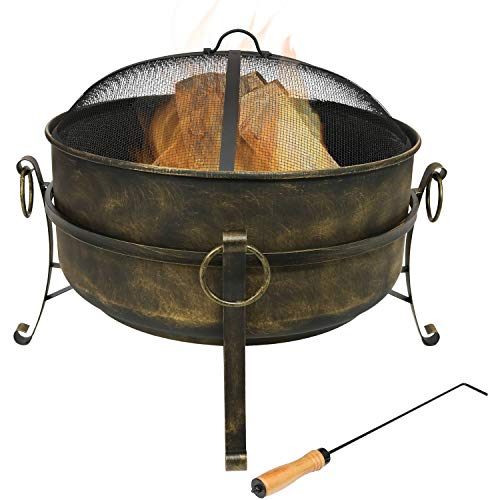 Sunnydaze Cauldron Outdoor Fire Pit - 24 Inch Deep Bonfire Wood Burning Patio & Backyard Firepit for Outside with Round Spark Screen, Fireplace Poker, and Metal Grate