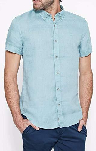Timberland SS Linen Camicia Uomo Celeste Slim Fit 100 Lino S  Amazon.it   Abbigliamento 6fa729ef92