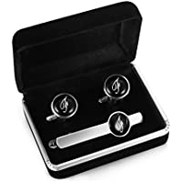 Jstyle Tie Clip and Cufflink Set For Mens Tie Bar Clips Cufflinks Shirt Wedding Business With Gift Box,Alphabet A-Z
