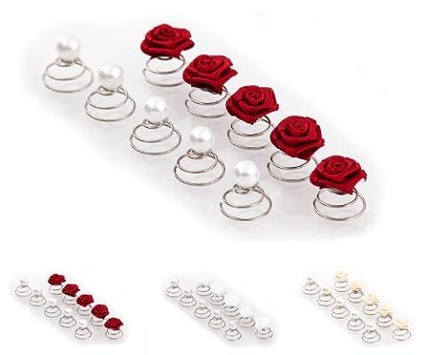 Set of 10 Rose /& Pearl Curlies Curlie Curlie Set Bridal Hair Accessory Red
