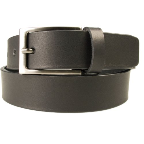 [M, 34-38 Black - Gun Metal Finish Buckle - Mens Full Grain Leather Belt - Made in UK (BD-0028-30)] (Full Metal Buckle)