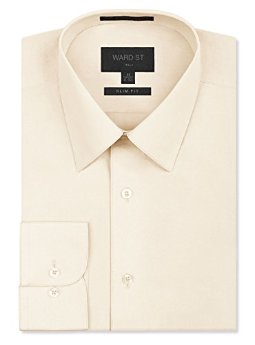 Ward St Men's Slim Fit Dress Shirts, Medium, 15-15.5N 32/33S, - Ivory Shirt Mens