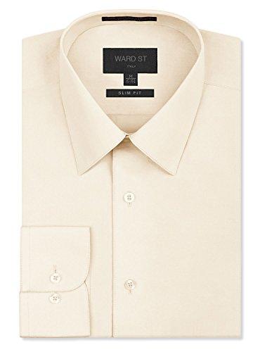 Ivory Mens Shirt - Ward St Men's Slim Fit Dress Shirts, Medium, 15-15.5N 32/33S, Ivory
