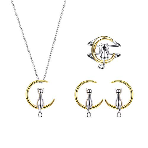 SILVERCUTE Cat on The Moon Jewelry Two-Tone Metal 18K Gold Plated 925 Stetling Silver Kitten Ring Pendant Necklace Earring Sets