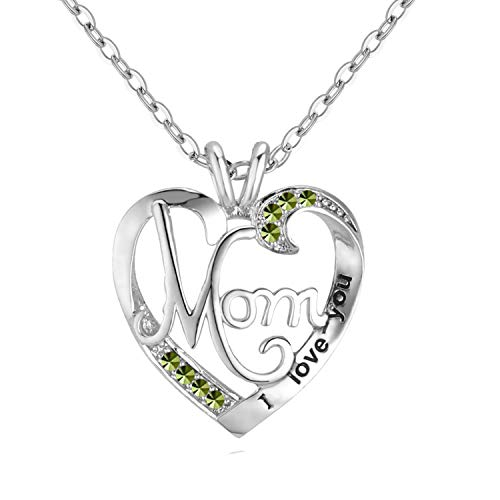 UEUC Mother's Birthday Necklace I Love You Mom Rhinestones Plated S925 Sterling Silver Heart Pendant