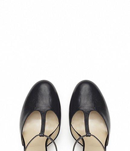 PoiLei Bonnie - Damen Schuhe / T-Strap Pumps mit Blockabsatz schwarz