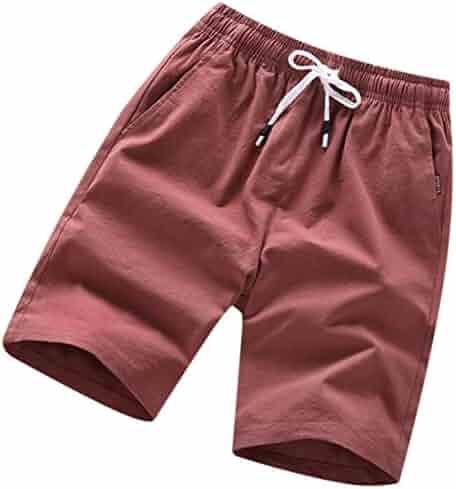 889489ee79 Alion Men's Summer Short Pants Drawstring Beach Shorts with Elastic Waist