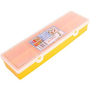 Wham 12874 8 Divisions Storage Box, Sunflower/Clear - 30H X 10W X 4.5D Cm, small