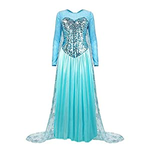 Kuzhi Princess Elsa Anna Cosplay Costume with Crown Wand Gloves and Wig M