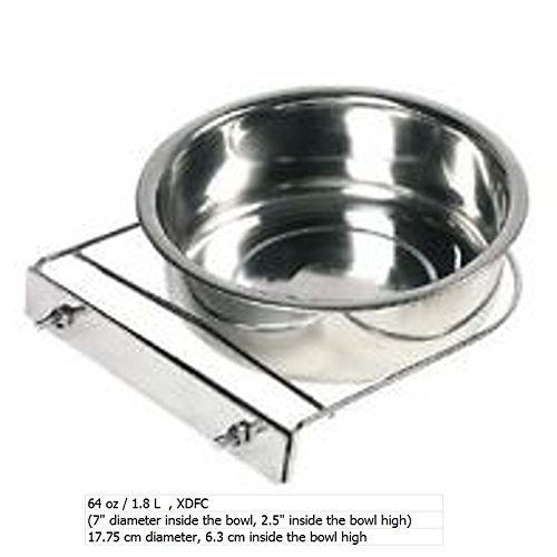 STAINLESS STEEL Cage Coop Cup Bolt Clamp Holder Dog Puppy Crate Hanger Bowl (Please choose with the select bar the size) (64 Oz / 1.8 L)
