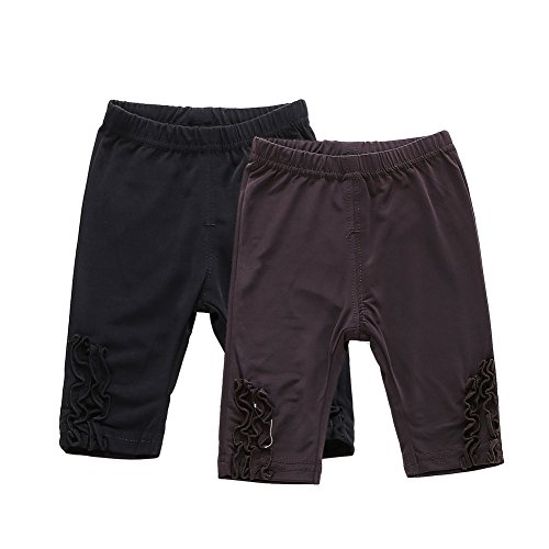 Pack of 2 Baby Girls Thin Leggings Knee Length Stretchy Casual Shorts Black + Brown Size 3T by Snowdreams