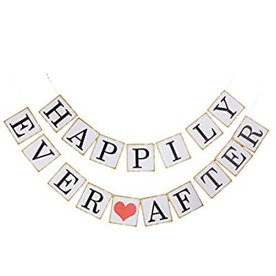 Pixnor HAPPILY EVER AFTER Paper Bunting Wedding Party Decoration Photo Prop