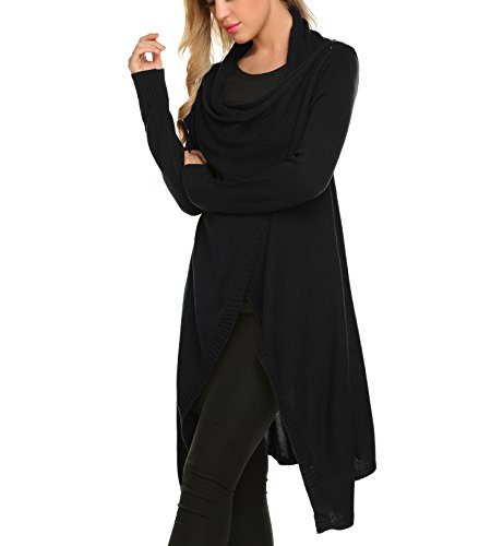 Zeagoo Women Casual Long Sleeve Cowl Neck Solid Slim Button Asymmetrical Knitted Cardigan Sweaters (Solid Sweater Cowl Neck)