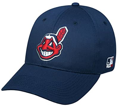 MLB ADULT WOOL Cleveland INDIANS Road Navy Blue Hat Cap Adjustable Velcro New