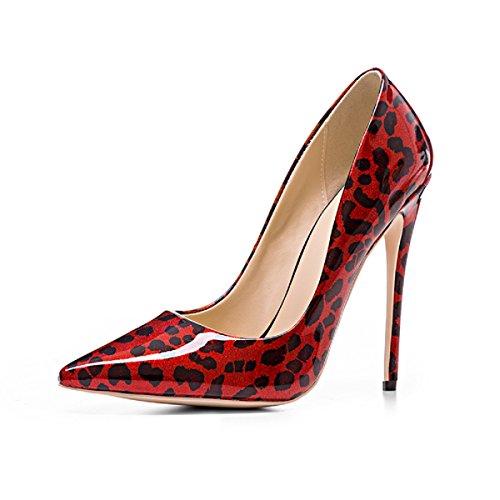 Juhlakengät Leopardikuvio Naisten Rongzhi Punainen Kiiltonahkakenkiä Kengät Pumput Teräväkärkiset Korkokengät q1twwxd5