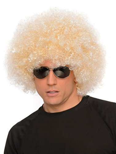 Blonde Curly Hair Costumes (Blonde Afro - Big 70s Disco Wig for Men, Curly Hair Fro)
