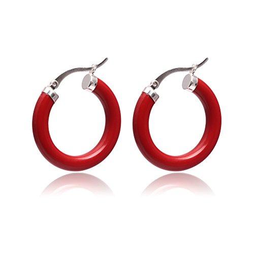 GEM-inside 30mm Manmade Red Coral Ring Beads Marcasite Tibetan Silve Earclip Hoop Earrings (Red Coral Necklace Earrings)