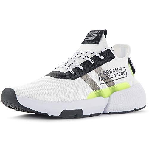 Justperkun Men's Running Sneakers,Lightweight and Breathable Comfortable Walking Shoes White, 11