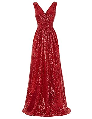 Kate Kasin Women Sequined Bridesmaid Dress Sleeveless Prom Banquet Evening Dresses