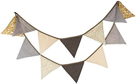 Banderines de tela de 3,3 m con 12 banderines triangulares de doble cara vintage, guirnaldas de tela, decoración para dormitorio, fiestas de cumpleaños o decoración de boda: Amazon.es: Hogar