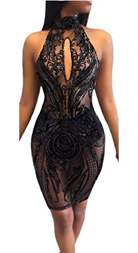 Club Mesh Through Sequins Mini Black Womens Halter Backless Dress See Jaycargogo 7W0pgAn