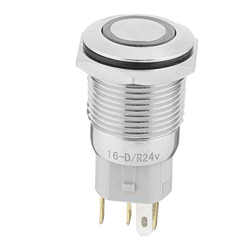 (Zerone 40pcs 16mm Metal Momentary Push Button Switch Auto Reset 5-Pin with 24V LED Light(Red))