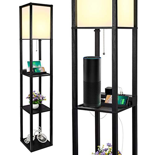 3-in-1 Shelf Floor Lamp with 2 Fast Charging USB Ports and 1 Power Outlet, 3-Tiered LED Shelf Floor Lamp, Shelf & Storage & LED Floor Lamp Combination, Modern Standing Light for Living Room, Bedroom (Lamp With Shelf)