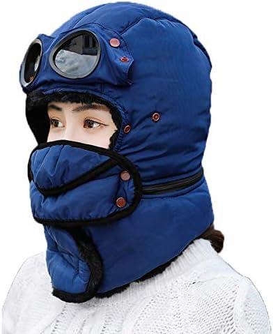 LAIABOR Sombrero Unisex Cálido Trapper Trooper Tejido Acrílico con Babero Y Gafas Parabrisas Protección contra El Frío A Prueba De Polvo Suave Y Cómodo