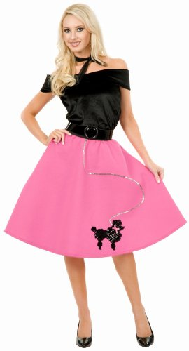 Pink Poodle Skirt Plus Adult Costume - Adult Costumes