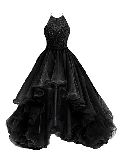 2b41ffec8d0 TBGirl Women s High Low Beading Black Organza Halter Prom Dresses