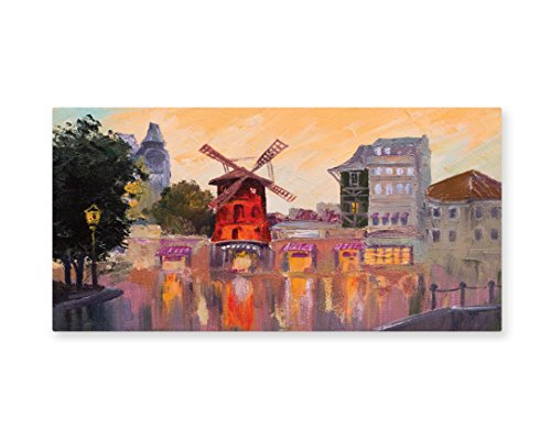 Lunarable European Wall Art, Painting of Moulin Rouge in Paris City Centre of Love Vintage France Art Print, Gloss Aluminium Modern Metal Artwork for Wall Decor, 23.5 W X 11.6 (Paris Themed Party Costume Ideas)