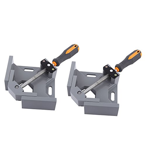 2 Set of NUZAMAS 90 Degree Corner Clamp Right Angle Clamp Aluminum Alloy Made, Adjustable Swing Jaw Corner Clamp, Woodworking Vice Wood Metal Welding Gussets, Single Handle 90 Degree Corner Clamp