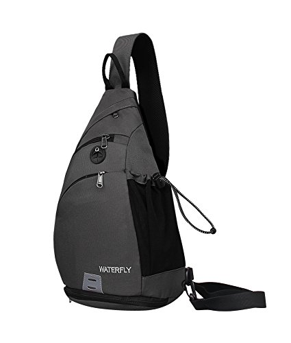 WATERFLY Sling Backpack, Sling Bag Small Crossbody Daypack Casual Backpack Chest Bag Rucksack for Men & Women Outdoor Cycling Hiking Travel