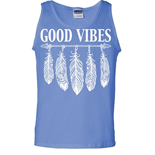 Good Vibes White Feather Tank Top - Carolina Blue Medium