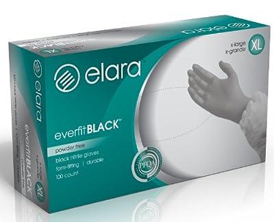 Elara Everfit Powder Free Nitrile Disposable Gloves, Textured Fingertips, Black