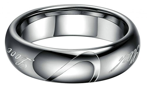 """Bishilin Men's Tungsten Carbide Steel Rings His """"Real Love"""" Wedding Bands Hearts Promise 6MM US 7"""