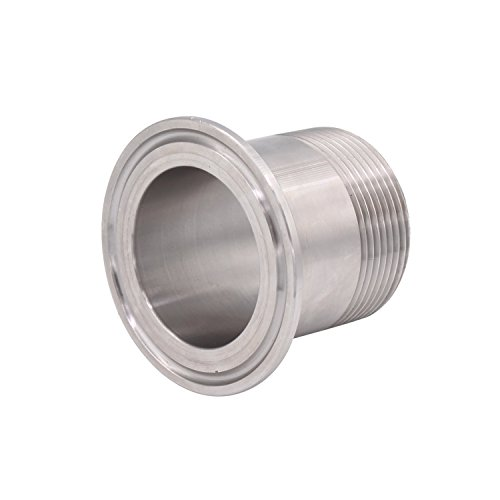 DERNORD Sanitary Male Threaded Pipe Fitting to 2 INCH (OD 64mm Ferrule) TRI CLAMP (Pipe Size: 1.5