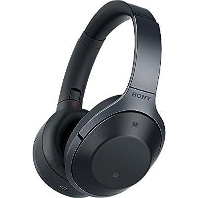 Sony MDR-1000X/B Black Hi-Res Bluetooth Wireless Noise Cancelling Headphones w/ Universal Wood Headphone Stand & Slappa HardBody PRO Full Sized Headphone Case (Black)
