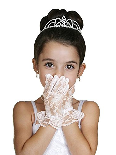 WonderfulDress Wrist Length Ruffled Lace Girl Gloves-Ivory-(4 to 7) (Lace Wrist Length Gloves)