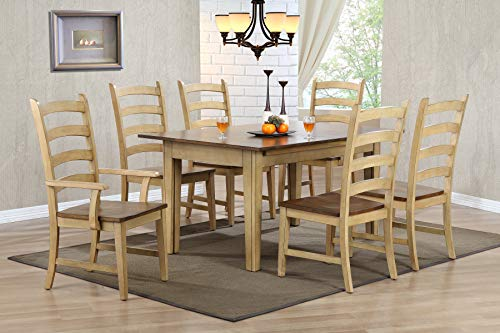 - Sunset Trading DLU-BR134-PW7PC Brook Dining Set, Extra Large, Three Sizes, Distressed Two Tone Light Creamy Wheat with Warm Pecan Finish top