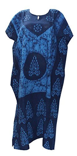 Odishabazaar Women's Indian Cotton Batik Paisely Floral Printed Kaftan Dress (Multi-2066)