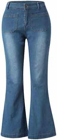 f4137e2400e iLUGU Women Autumn Elastic Plus Loose Denim Pocket Casual Boot Cut Booty  Shorts Pant Jeans