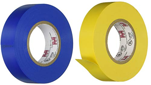 Bundle, Morris Products 2 Pack, Yellow and Blue Electrical Tape, Large Rolls, Each 3/4-Inch Wide and Full 60 Feet Long, 7 mil, Use for Protective Jacketing and Bundling, Great for Color Coding ()