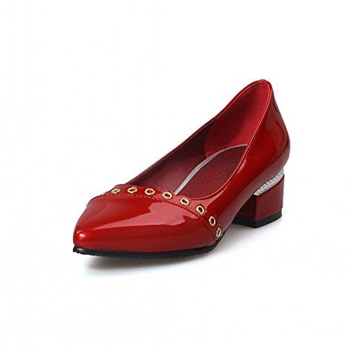 Femmes Pointu Tenues Nouveauté Similicuir Chaussures DIMAOL red Talons Blanc Confort Argent Printemps Rouge Bas Talon de Automne Rose Pour Beige les Bout qBF7FZx5w