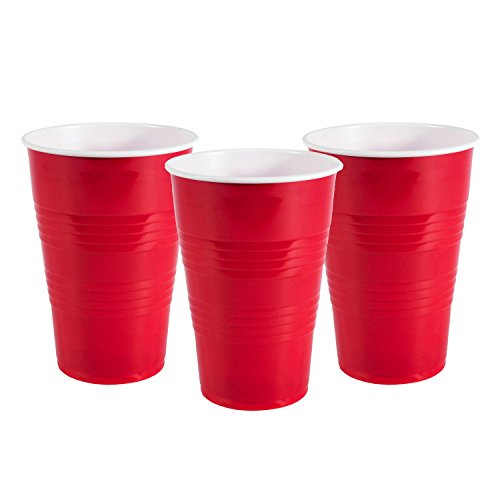 Party Essentials JF6100-0001 100 Count Jack Frost Soft Plastic 16 oz Classic Party Cups, Red