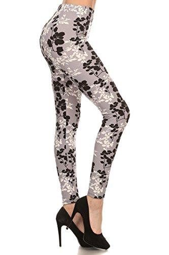 R562-OS Moonlight Petals Print Fashion Leggings ()